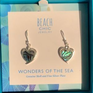 Beach chic women's earrings shell and silver plate